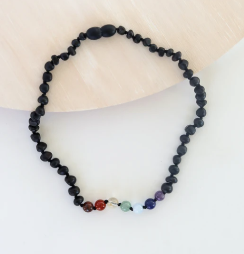 "Raw Black Amber + Chakra 11"" Inch Necklace"