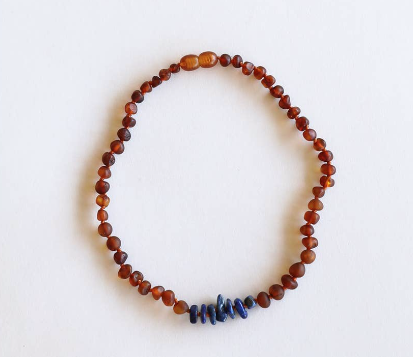 "Raw Amber + Lapis Stones  11"" Necklace - Baby Sweet Pea's Boutique"