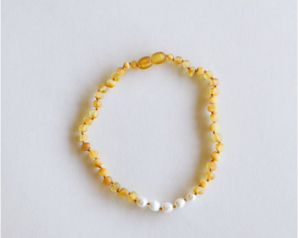 "Raw Honey + Pearls  11"" Necklace"