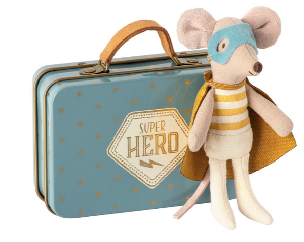 Super Hero Little Mouse in Suitcase