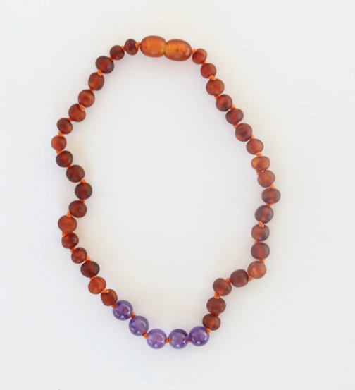 "Raw Cognac Amber and Amethyst 11"" Inch Necklace"