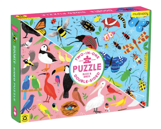Two-in-One double sided 100 piece puzzle- Bugs and Birds