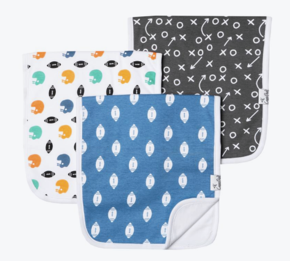 Premium Burp Cloths (3 Pack)- Quarterback - Baby Sweet Pea's Boutique