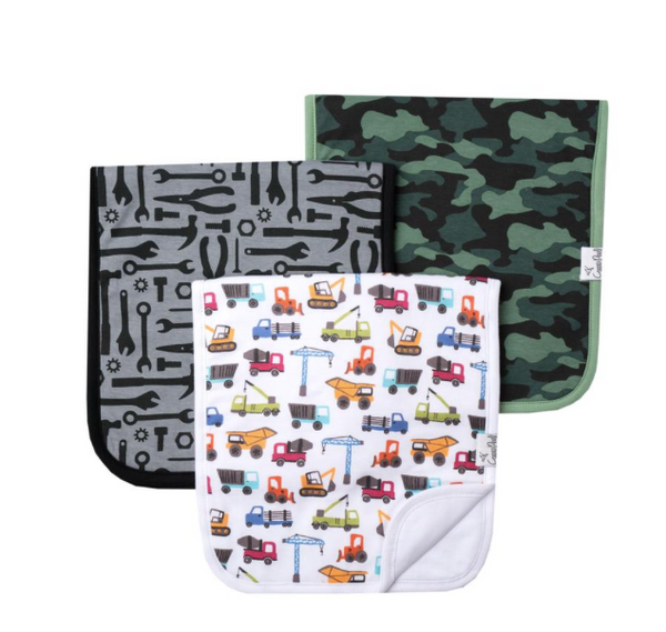 Premium Burp Cloths (3 pack)- Diesel - Baby Sweet Pea's Boutique