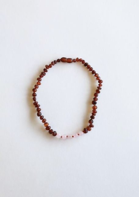 "Raw Cognac Amber + Rose Quartz 11"" Necklace"
