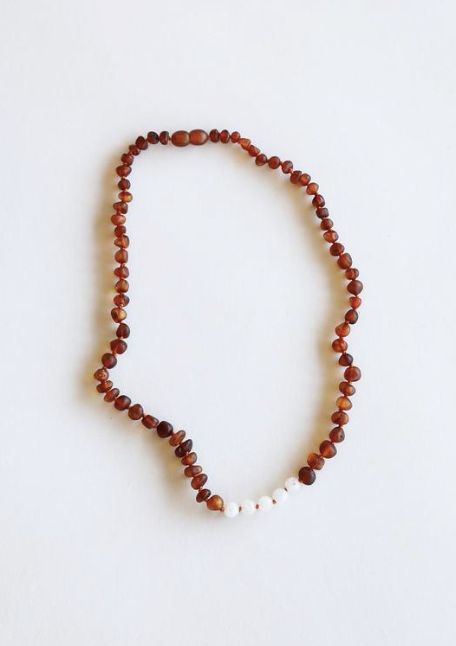"Raw Cognac Amber + Moonstone 11"" Necklace"