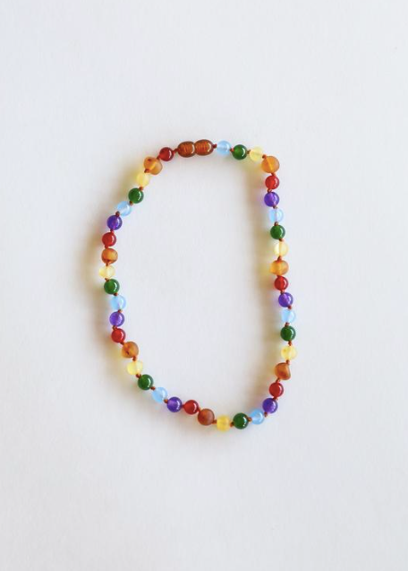 "Raw Amber + Gemstone Rainbow 11"" Necklace"