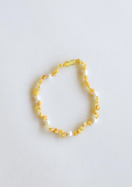 "Raw Honey Amber + Pearl Halo 11"" Necklace"