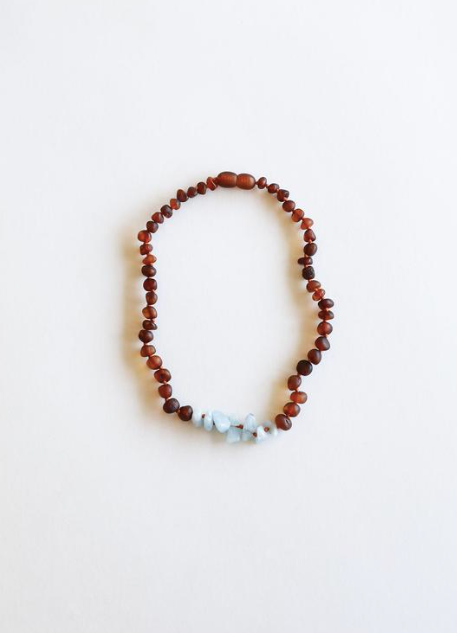 "Raw Cognac Amber + Blue Amazonite 11"" Necklace"
