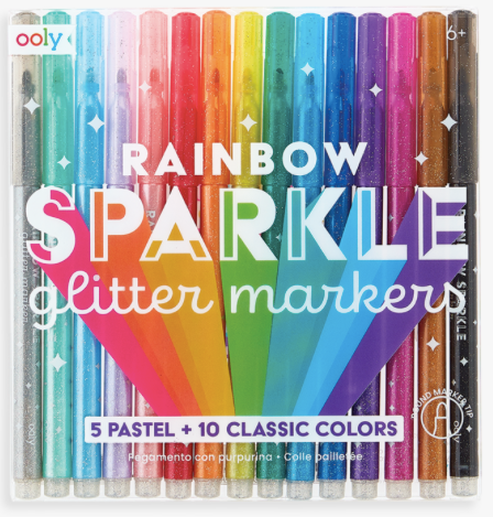 Rainbow Sparkle Glitter Markers - Baby Sweet Pea's Boutique