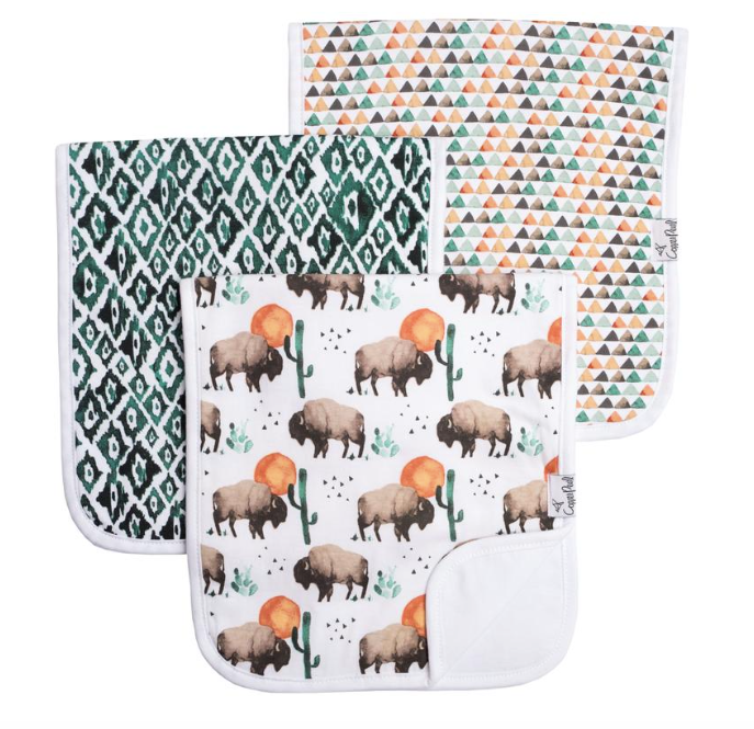 Premium Burp Cloths (3 Pack)- Bison - Baby Sweet Pea's Boutique