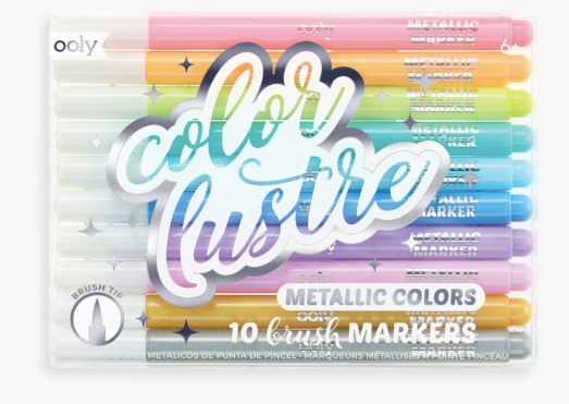 Color Lustre Metallic Brush Markers- Set of 10