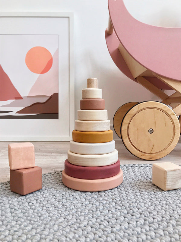 Wooden ring stacker toy / Light Pink
