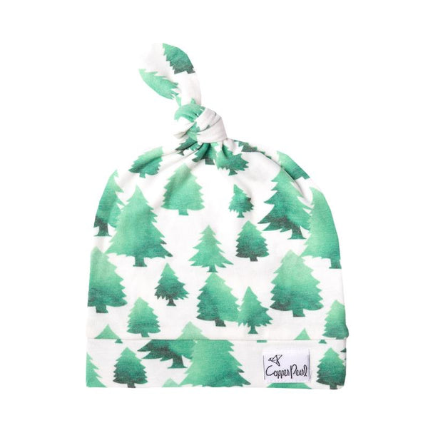 Newborn Top Knot Hat- Forest