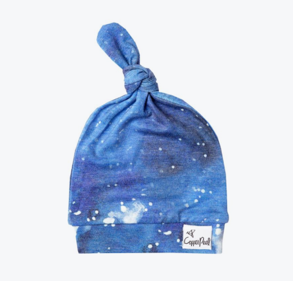 Newborn Top Knot Hat- Galaxy