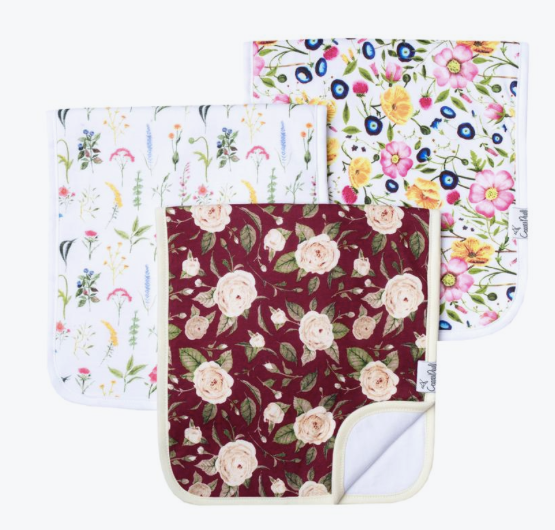 Premium Burp Cloths (3 Pack)- Scarlet - Baby Sweet Pea's Boutique