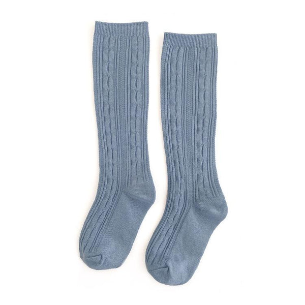 Steel Blue Cable Knit Knee Highs