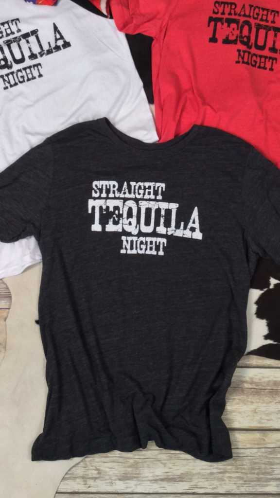 Straight Tequila Night Tee in Black Unisex Triblend