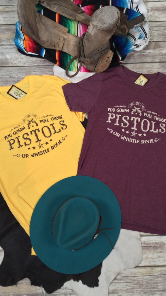 Pull Those Pistols in Yellow Triblend Unisex Tee