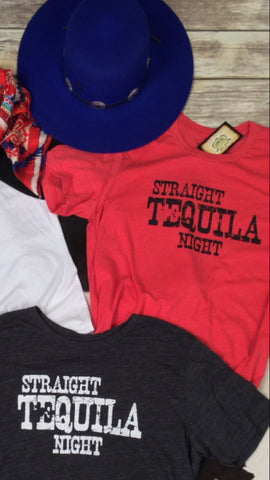 Straight Tequila Night Tee in Red Unisex Triblend