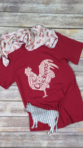 All I Need is Chickens Cardinal Unisex Tee