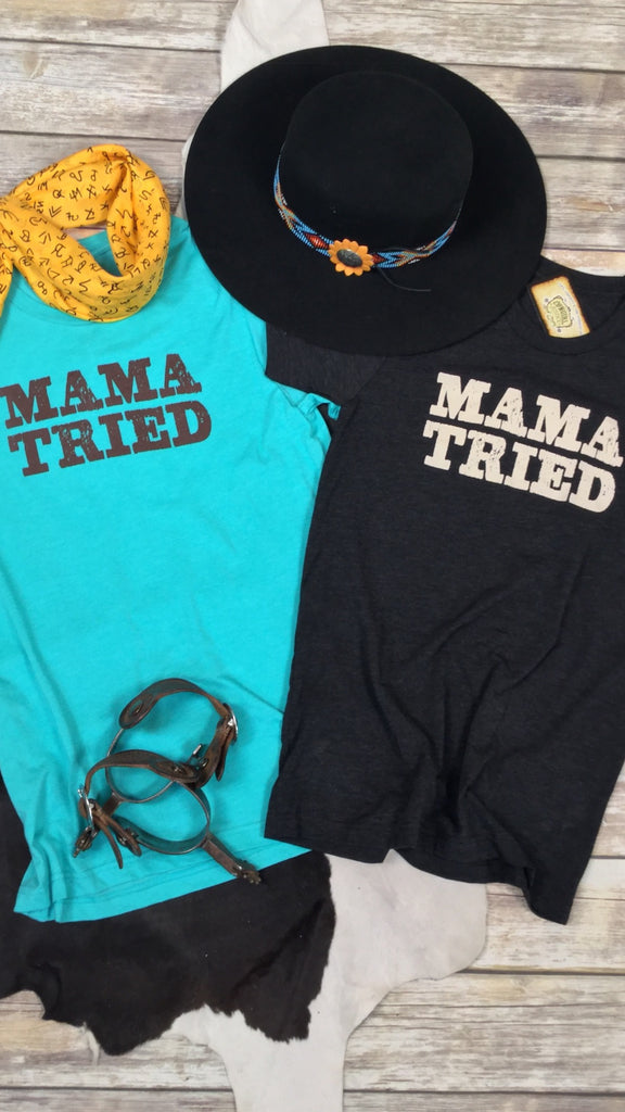 Mama Tried Tee in Charcoal Black Triblend Unisex