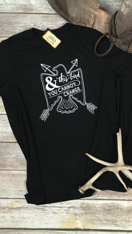 And This Bird You Cannot Change Unisex Triblend Tee in Charcoal Black
