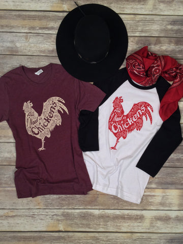 All I Need is Chickens Maroon Triblend Unisex Tee