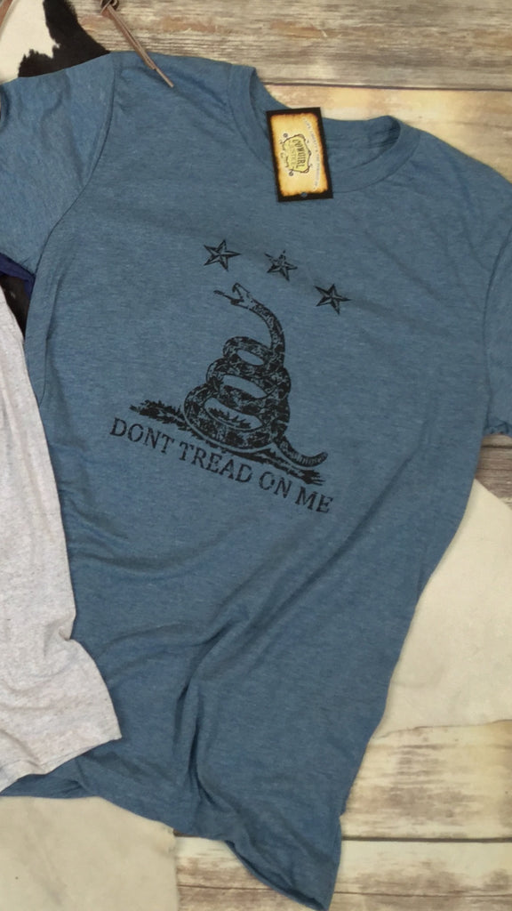 Don't Tread on Me in Denim Blue Triblend Unisex Tee