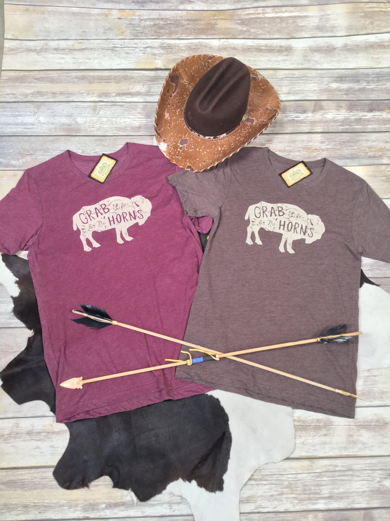 Grab Life by the Horns Unisex Triblend Tee in Maroon