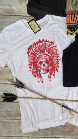 Cherokee Feather Skull in White Triblend Tee