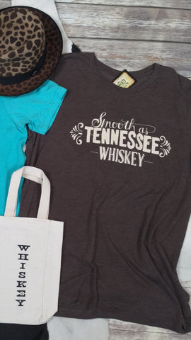 Smooth as Tennessee Whiskey Triblend Unisex Tee in Brown