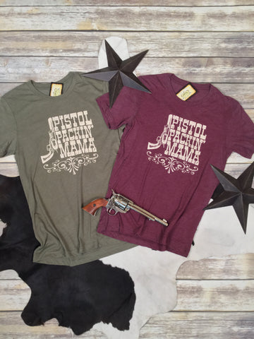 Pistol Packin' Mama in Olive Triblend Unisex Tee