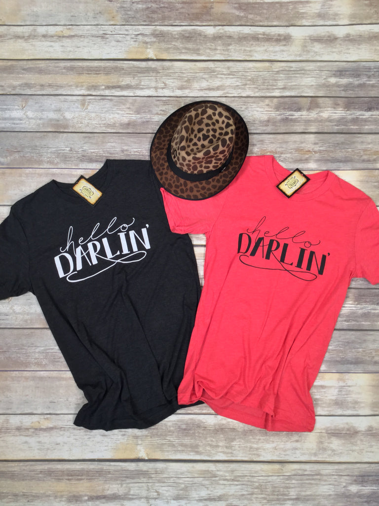 Hello Darlin' Tee in Red Unisex Triblend