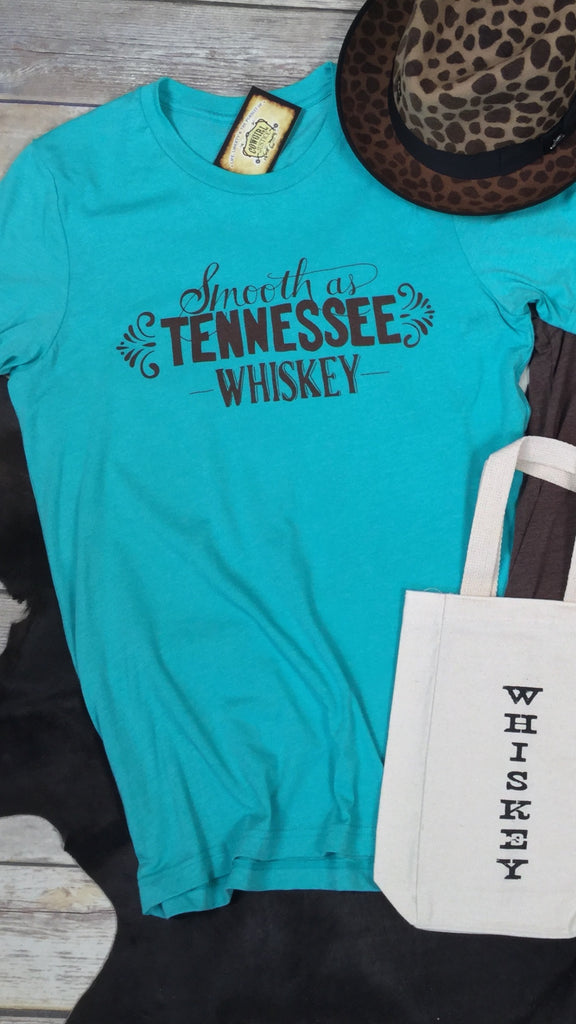 Smooth as Tennessee Whiskey Triblend Unisex Tee in Turquoise