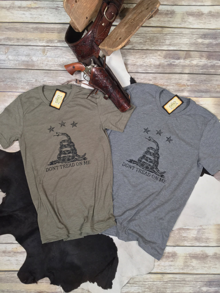 Don't Tread on Me in Olive Triblend Unisex Tee