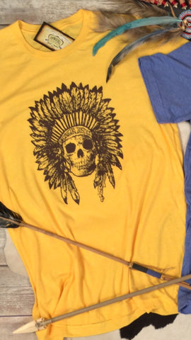 Cherokee Feather Skull in Yellow Gold Triblend Tee