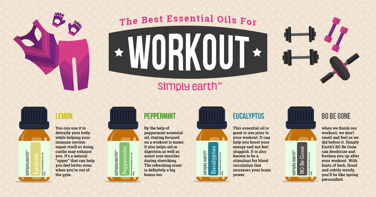 best essential oils to boost your workouts infographic