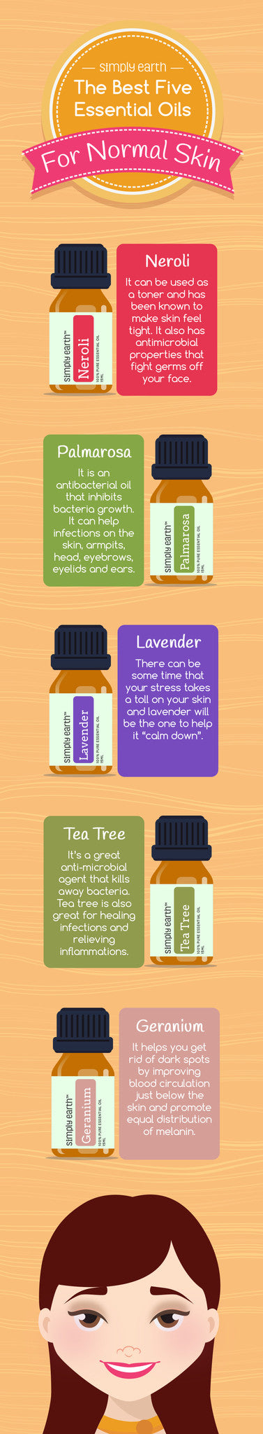 best essential oils for normal skin infographic