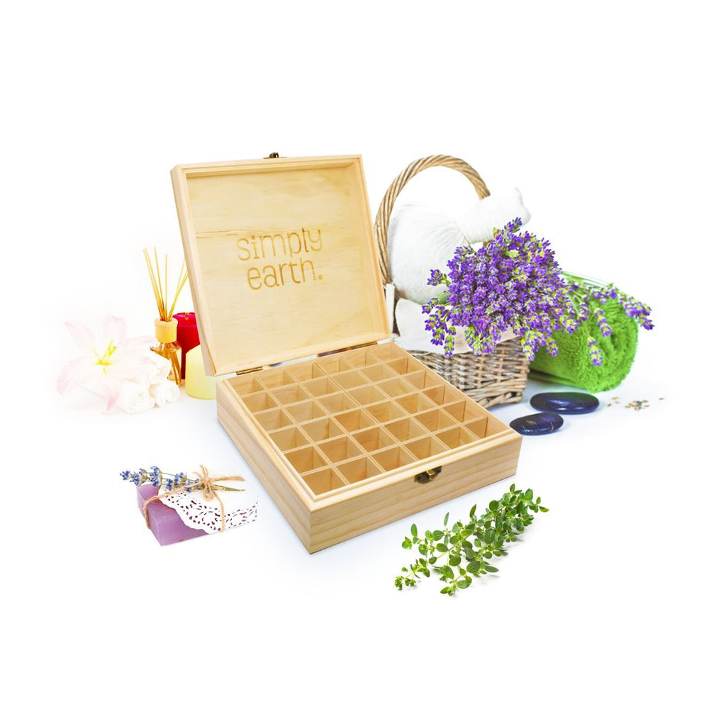 Wooden Essential Oil Box (Fits 36) by Simply Earth