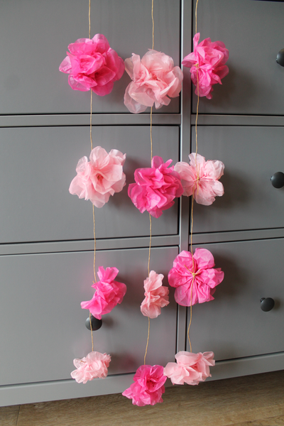 Paper flower garland from Attic