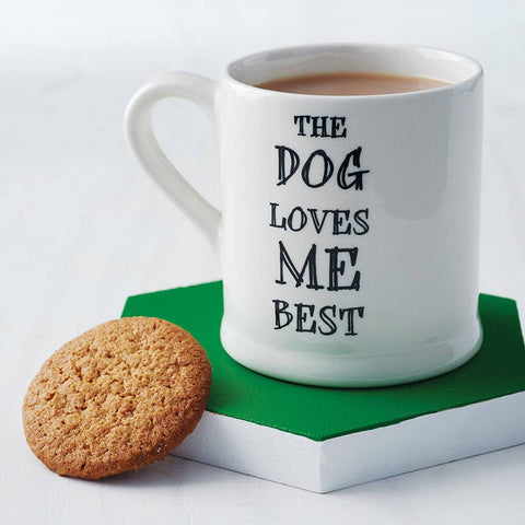 The dog loves me best mug from the Attic Store