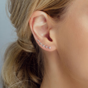 Silver Five Little Stars Ear Climber - sterling silver NuNu jewellery