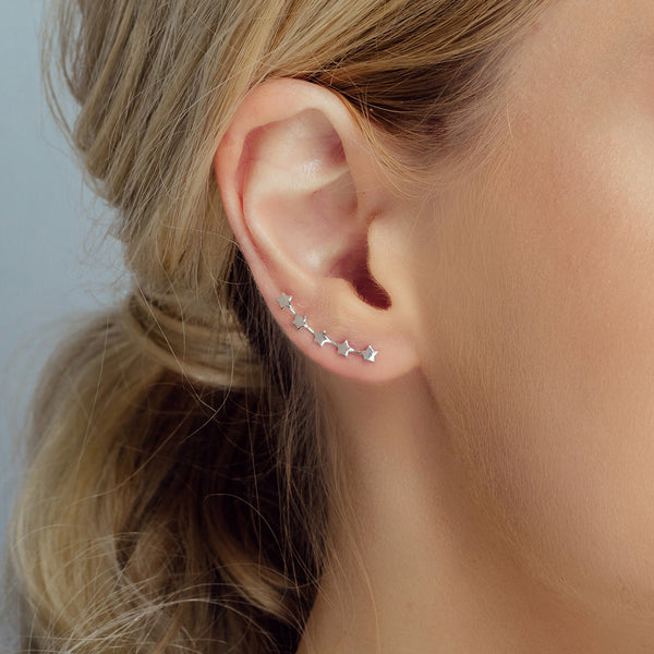 Silver Five Little Stars Ear Climber