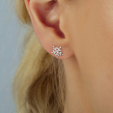Silver Glistening Snowflake Ear Studs Or Necklace