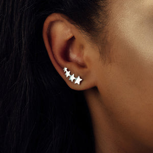 Sterling Silver Four Stars Ear Climbers - NuNu Jewellery