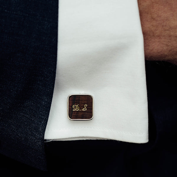 wooden cufflinks engraved