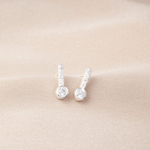Silver Crystal Shape Earrings - NuNu Jewellery