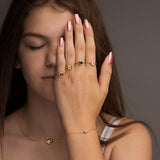 Gold Chain Ring With Amber Gem - NuNu Jewellery