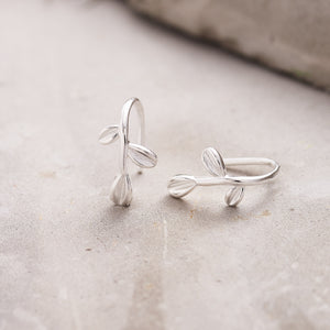 Silver Olive Leaf Hook Earrings - NuNu Jewellery